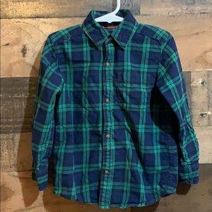 💙4/$10 Carters Blue Green Plaid Button Down Shirt